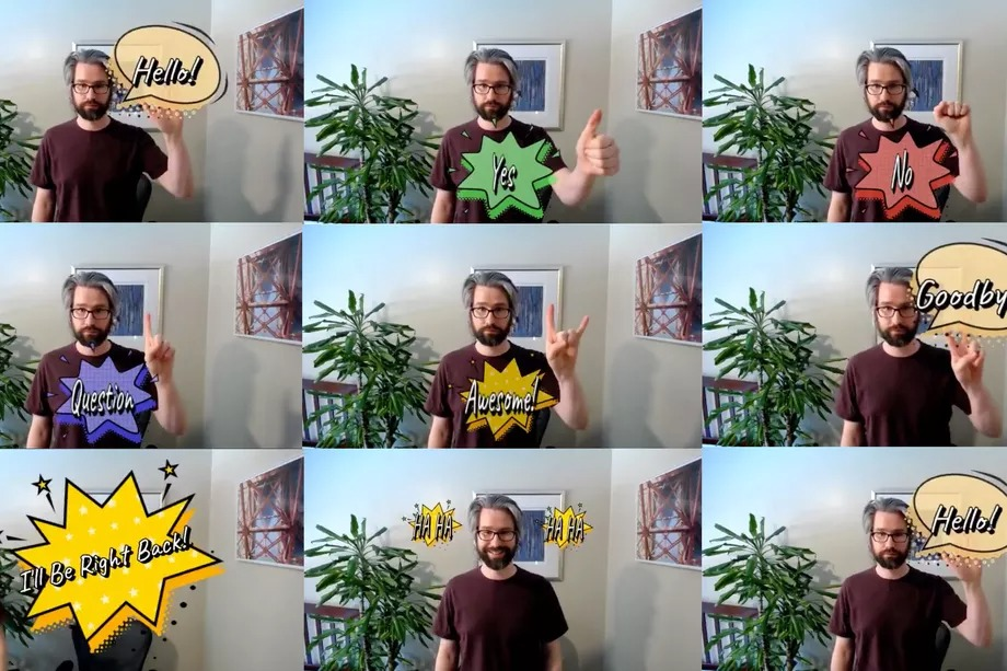 Add comic book dialogue boxes to your next video call with this amazing gesture-based add-on